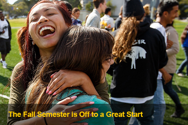 Students hug at Welcome Days